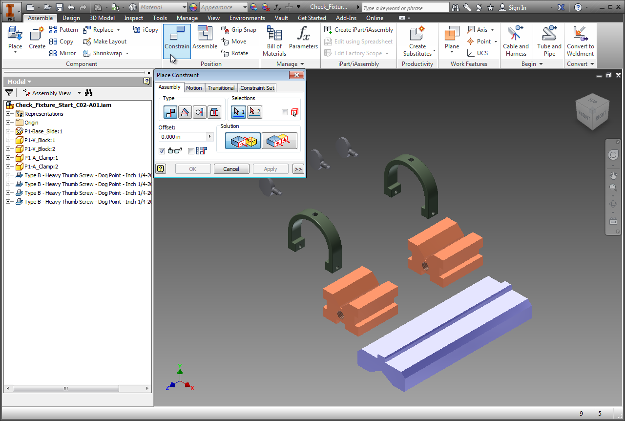 Constraining with Mate and Flush in Inventor